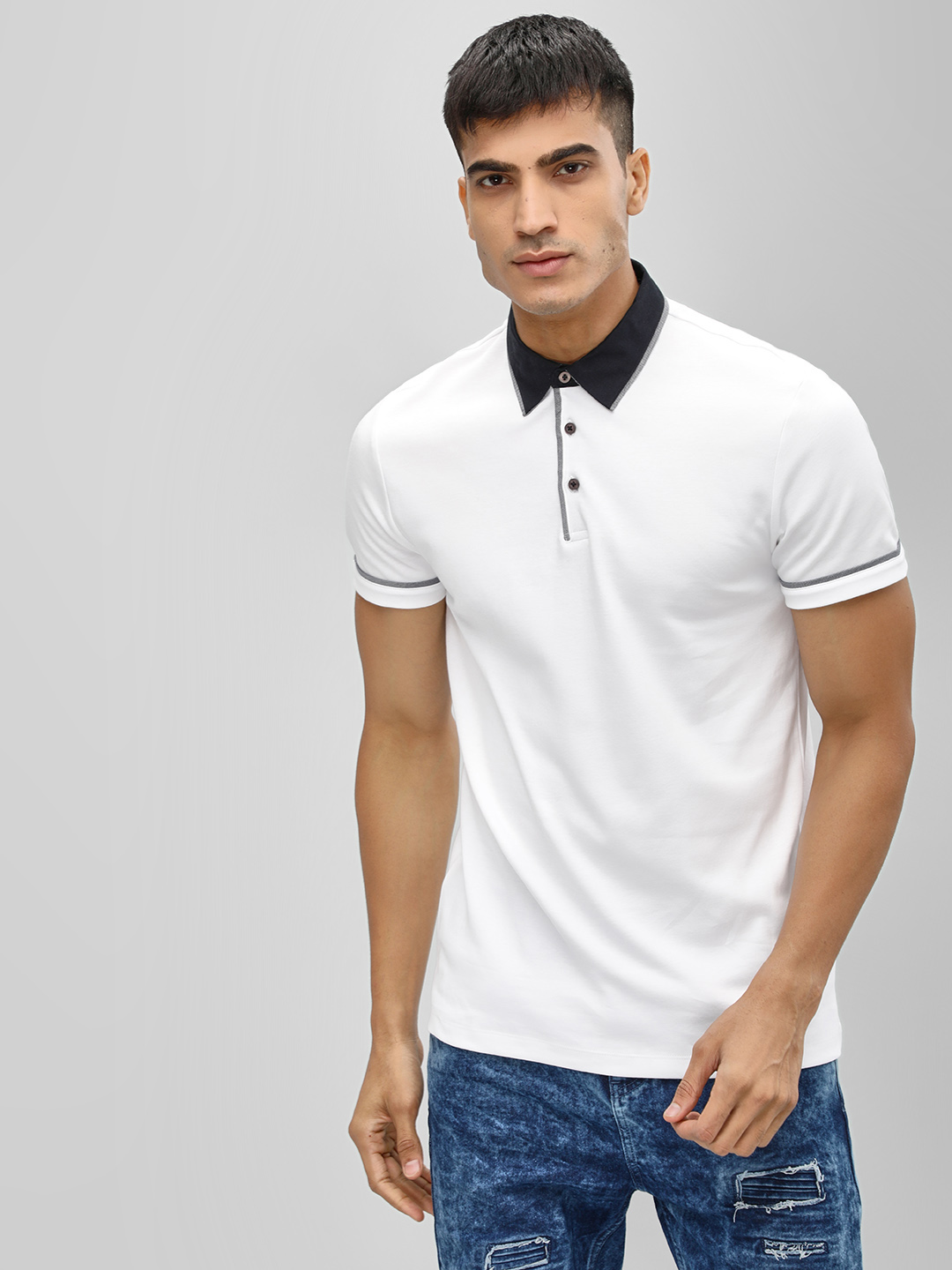 New Look White Woven Collar Polo Shirt 1