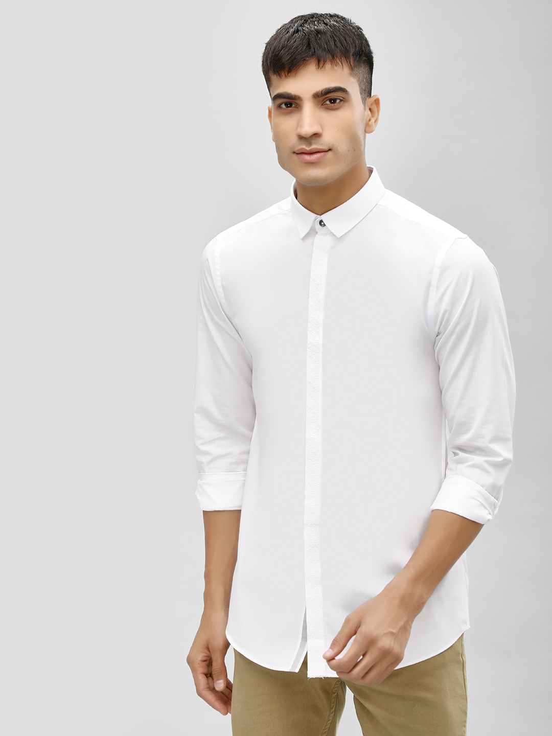 New Look White Long Sleeve Embroidered Placket Shirt 1