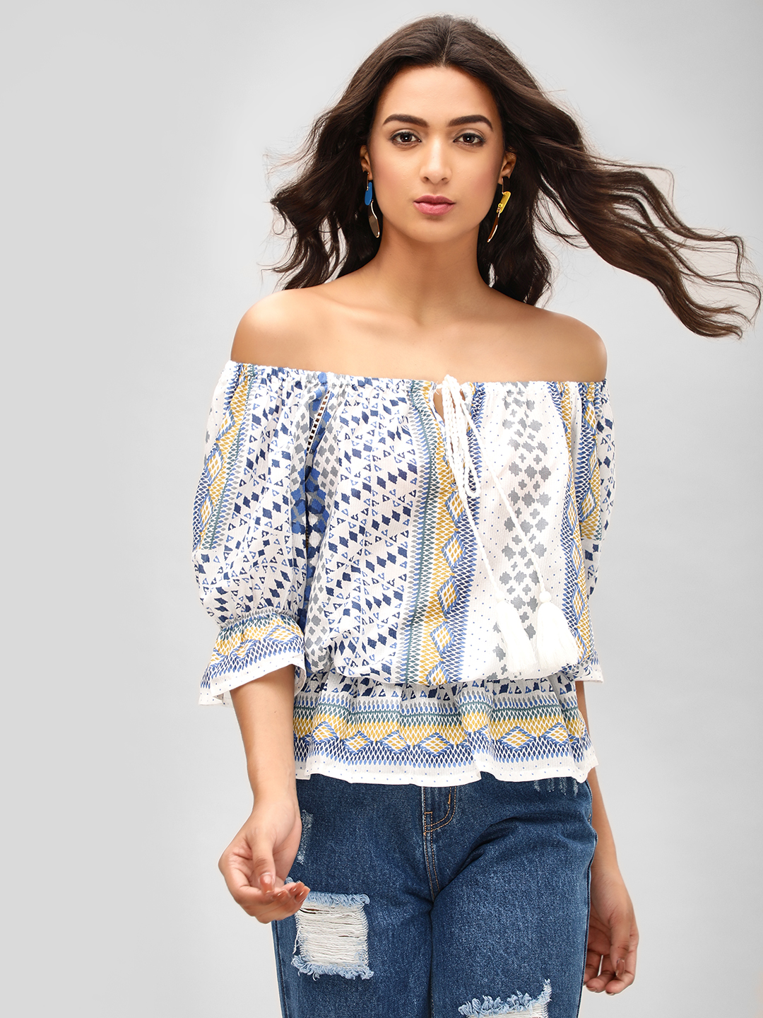 MIWAY Print Smocked Detail Printed Off-Shoulder Top 1