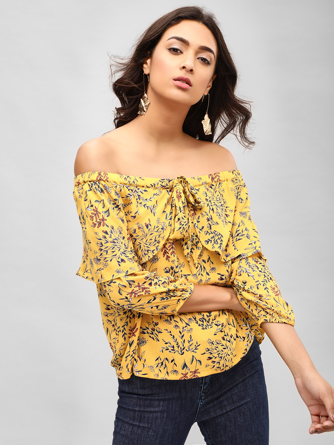 MIWAY Print Layered & Printed Off-Shoulder Top 1