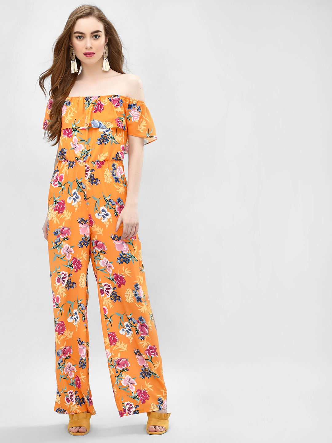 Glamorous Orange Tropical Print Bardot Jumpsuit 1