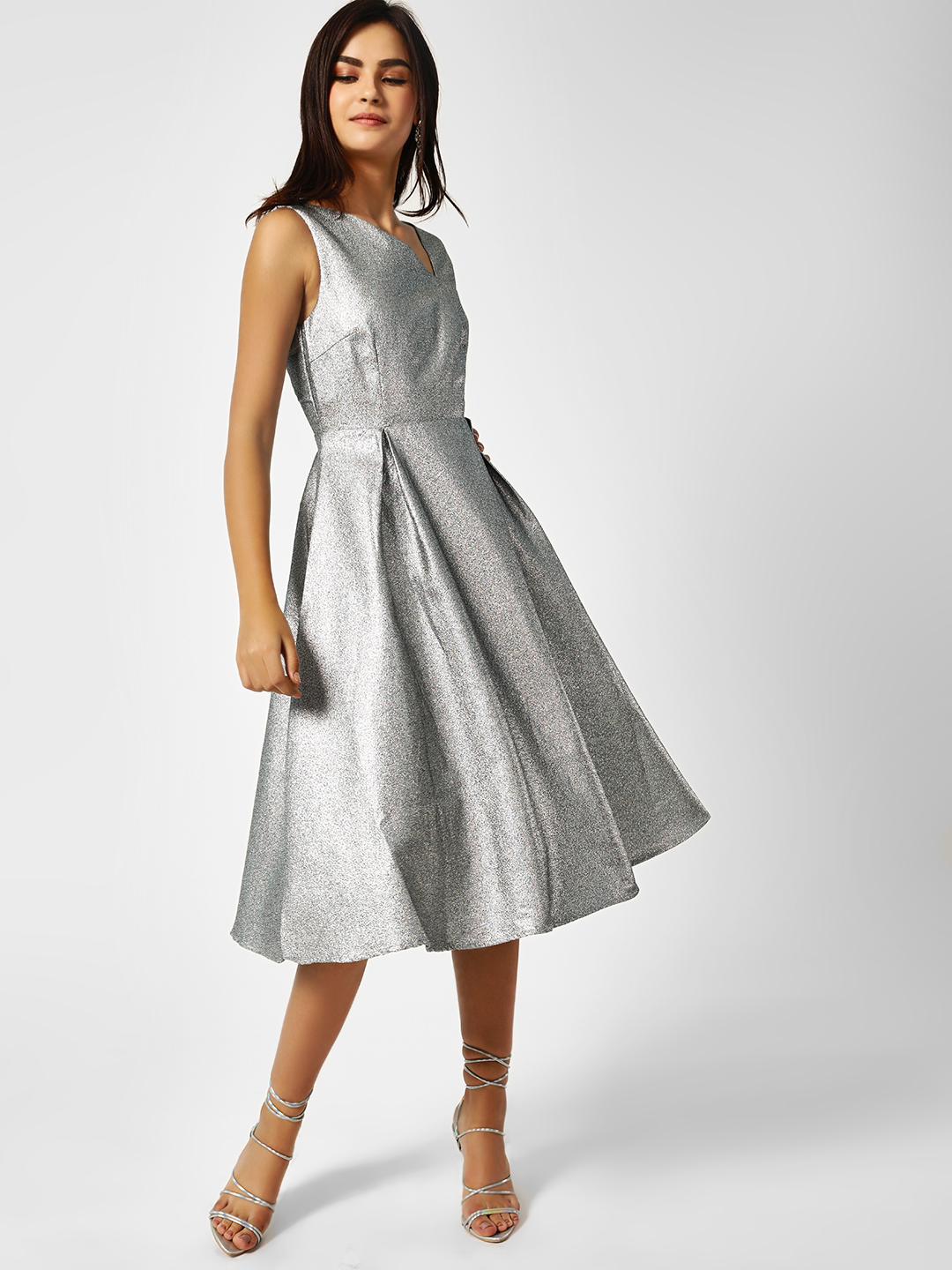 Glamorous Silver Deep Back Silver Midi Dress 1