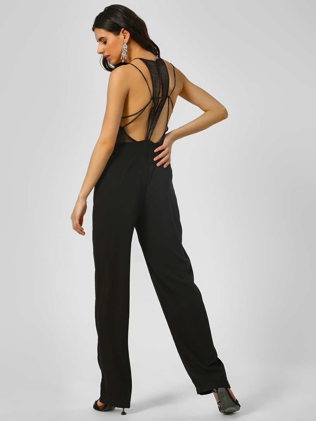 Glamorous Black Basic Strappy Back Jumpsuit 1
