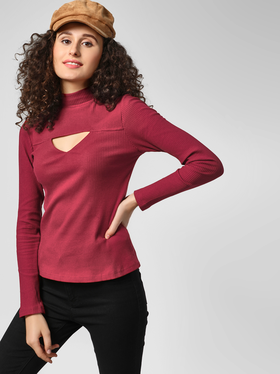 Glamorous Burgundy High Neck Ribbed Top 1