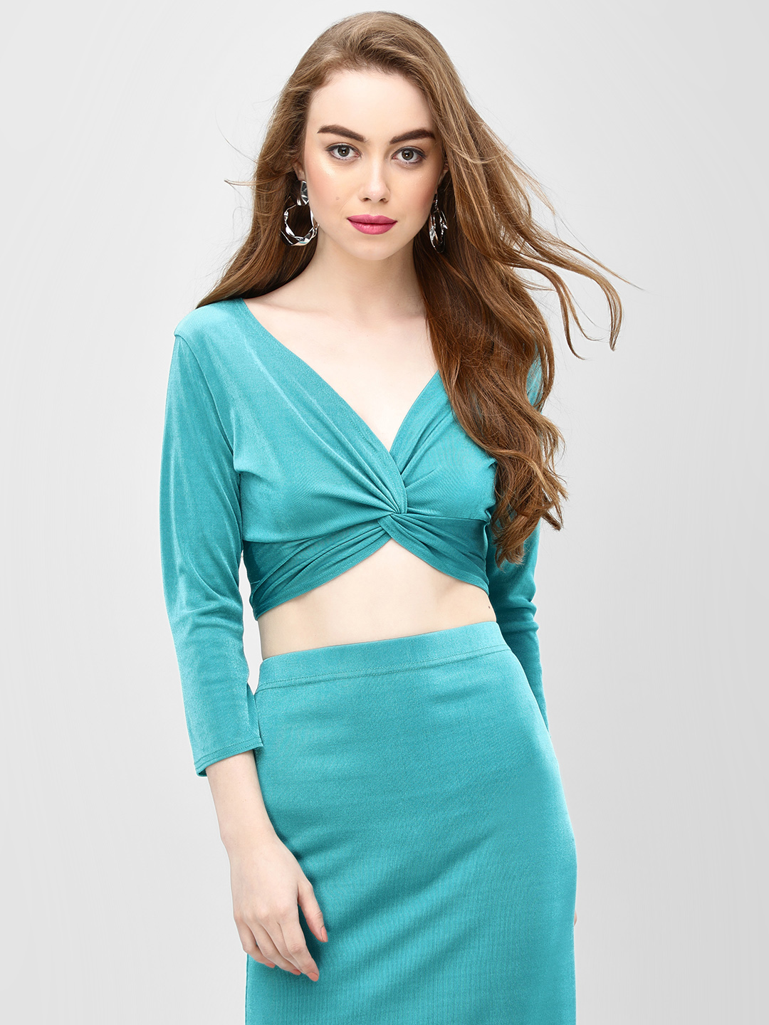 Glamorous Teal Twisted Front Crop Top 1