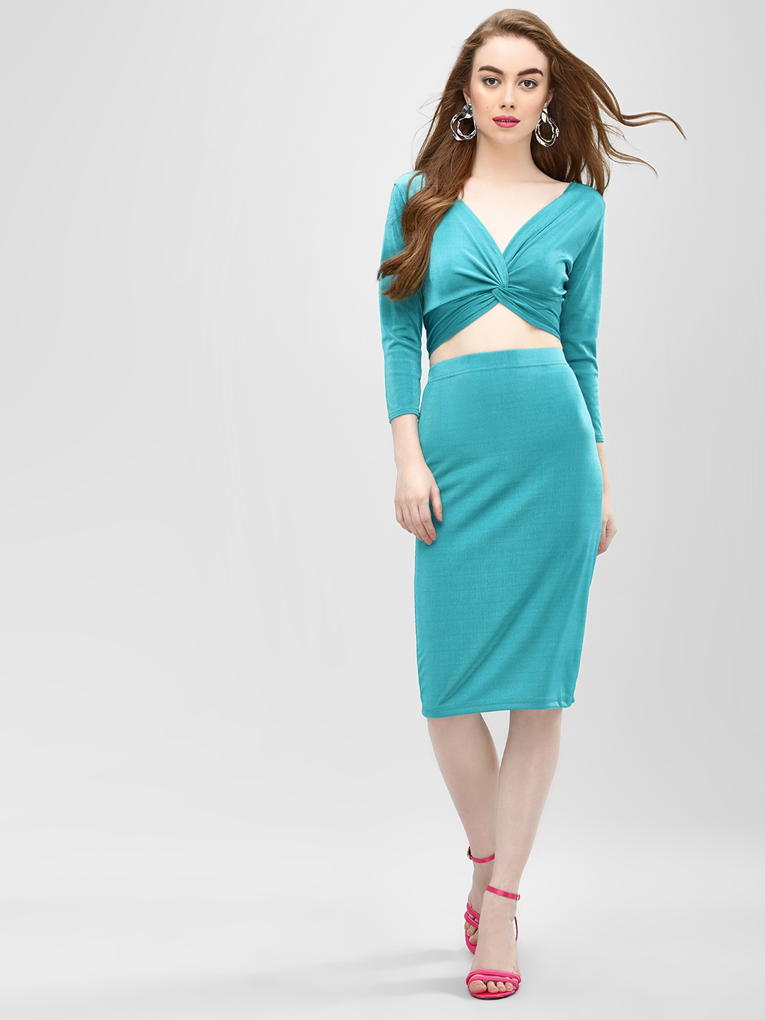 Glamorous Teal Midi Pencil Skirt 1