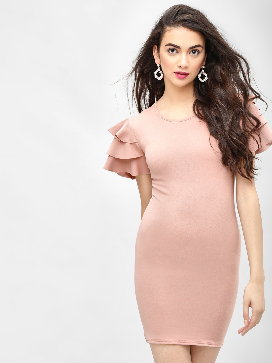 Lasula Pink Frill Sleeve Bodycon Dress 1