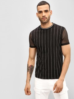 Garcon Mesh Sleeve Striped T-Shirt