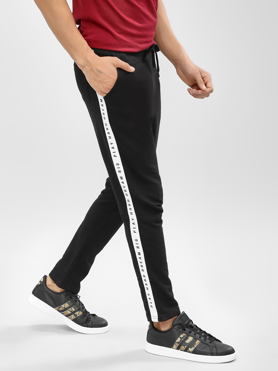 Garcon Black Cropped Joggers With Printed Side Tape 1