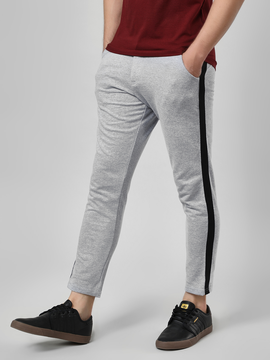 Garcon Grey Contrast Side Tape Knitted Trousers 1