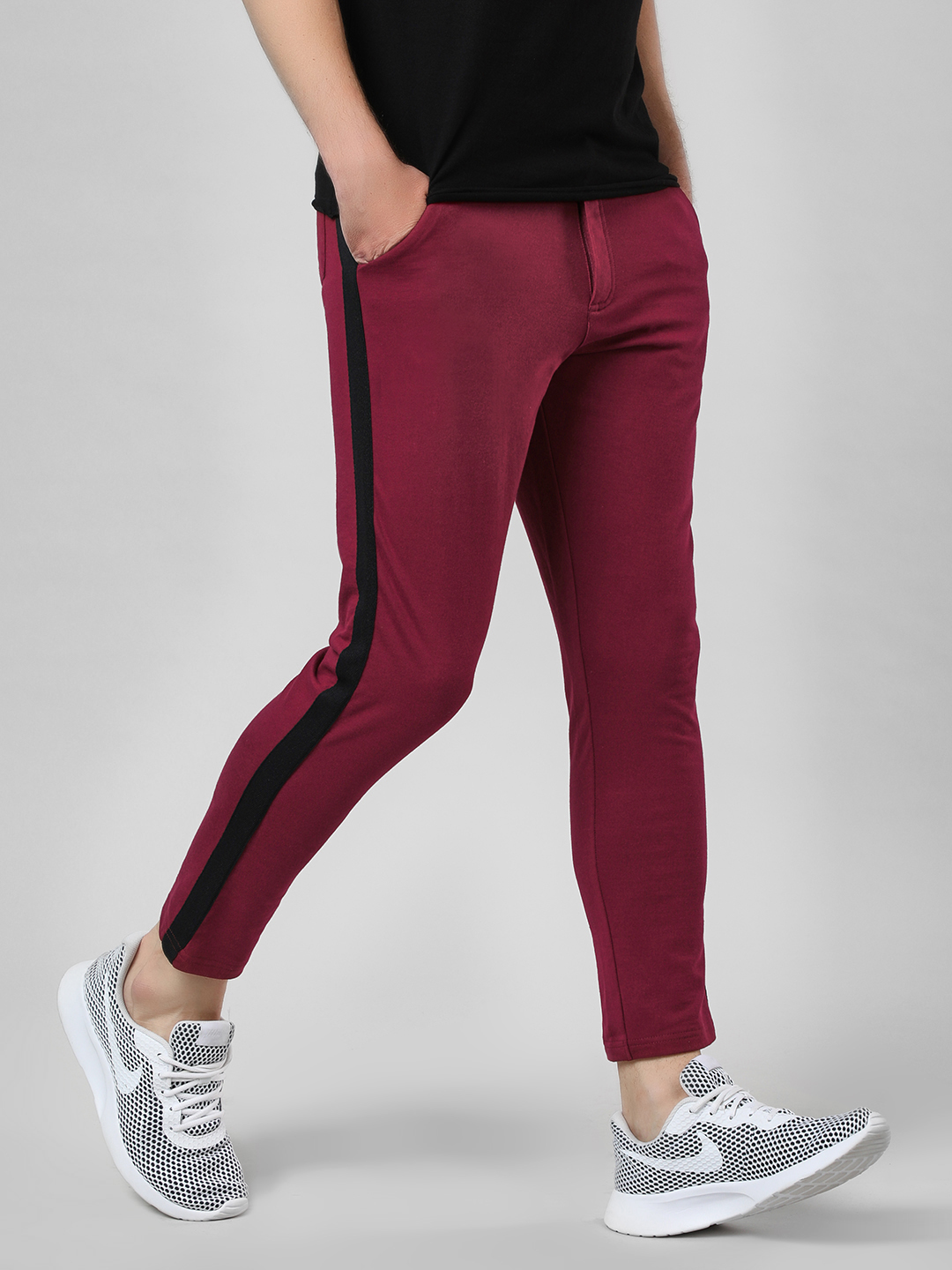 Garcon Maroon Contrast Side Tape Knitted Trousers 1