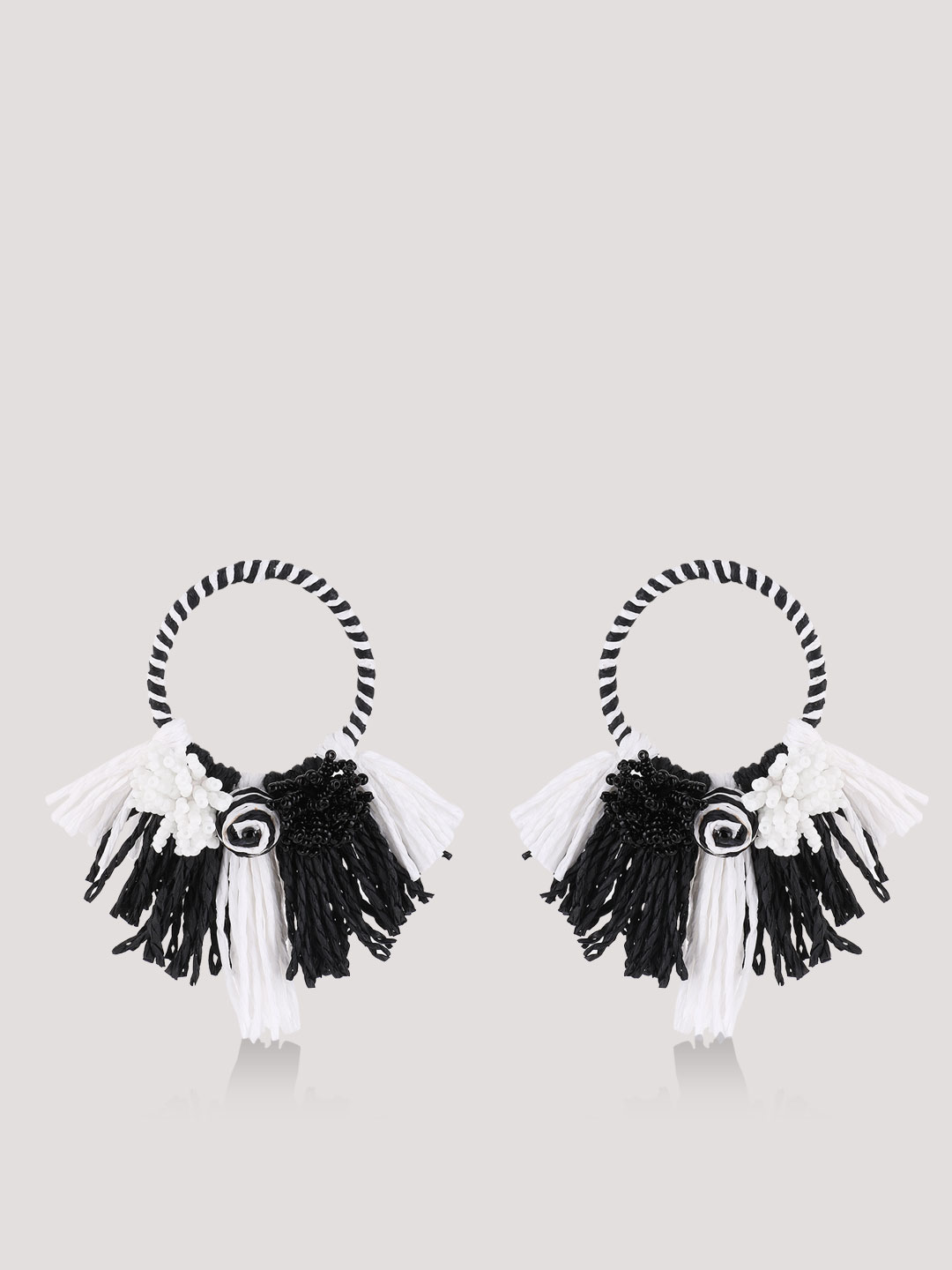 Blueberry Black/White Tassel and Beads Statement Earrings 1