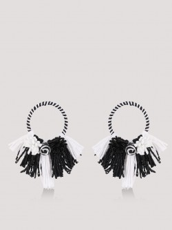 Blueberry Tassel and Beads Statement Earrings