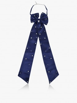 Blueberry Pearl Detail Satin Bow Tie