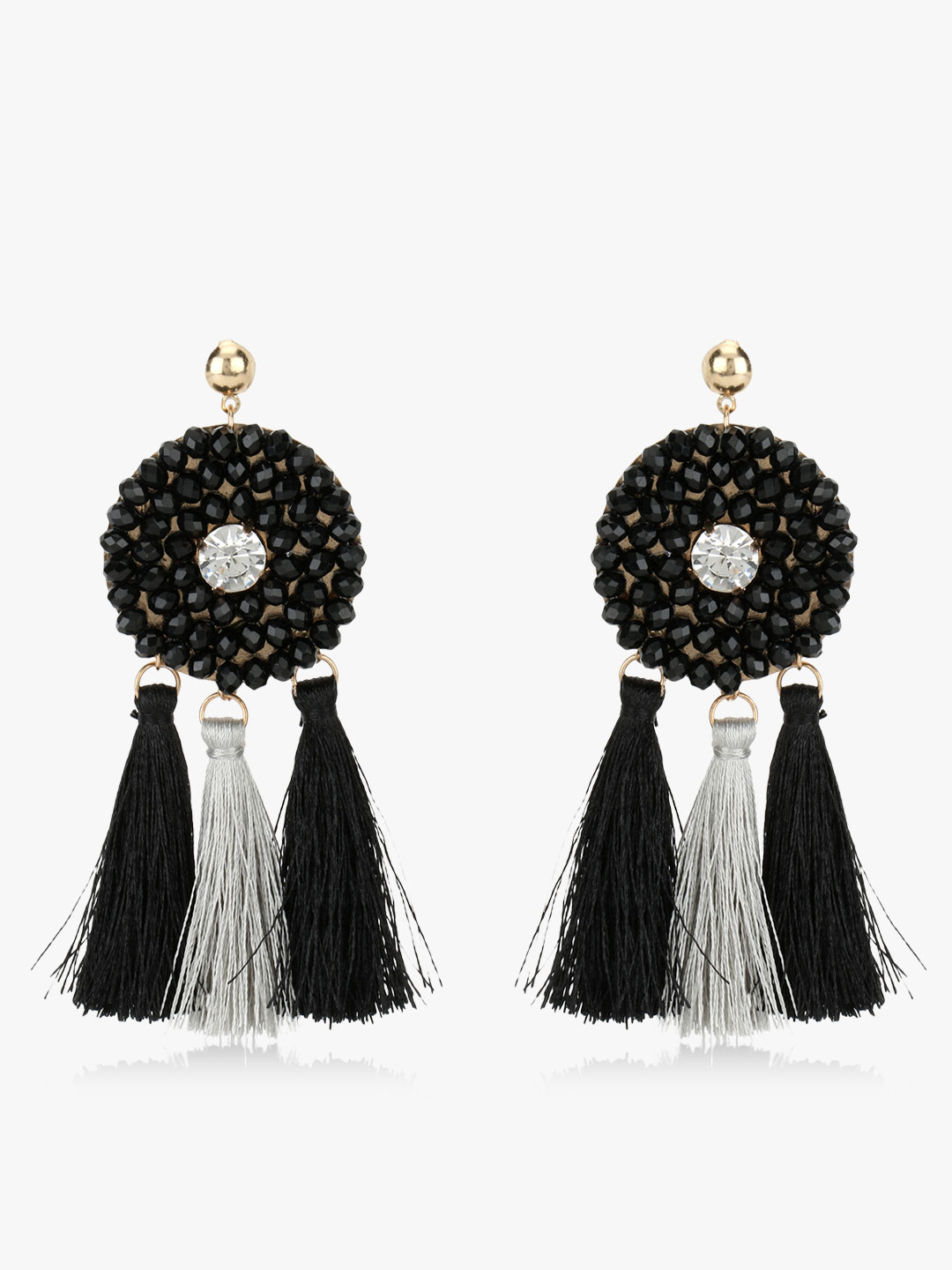 Blueberry Black/Grey Bead And Tassel Earrings 1