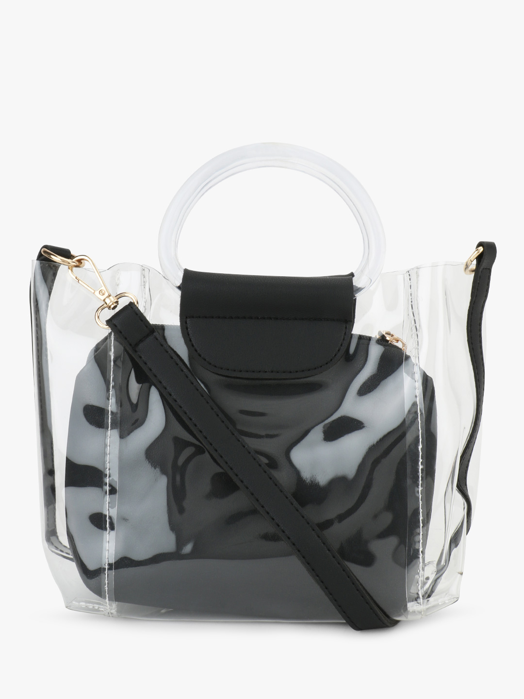 Origami Lily Black Clear Sling Bag 1