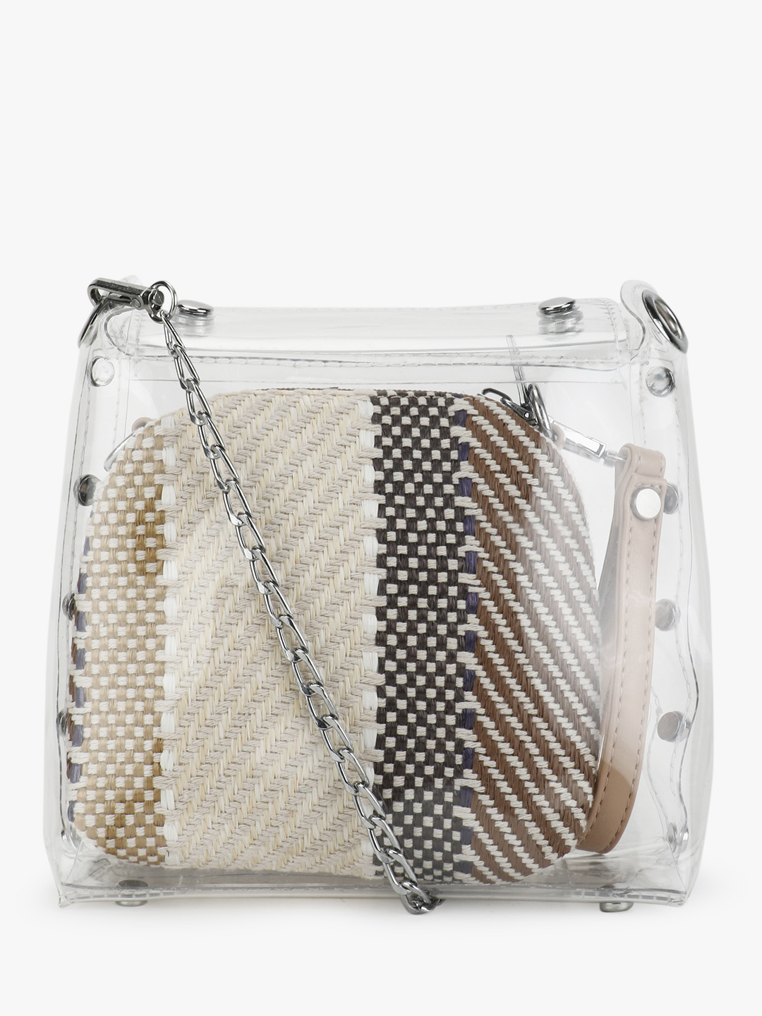 Origami Lily Beige Clear Bag With Printed Insert 1