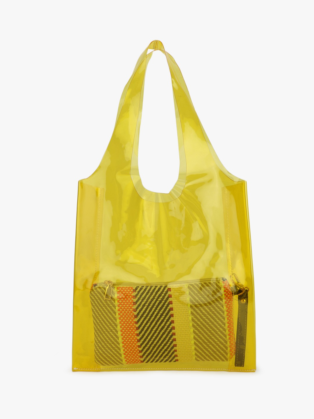 Origami Lily Yellow Clear Tote Bag With Pouch 1