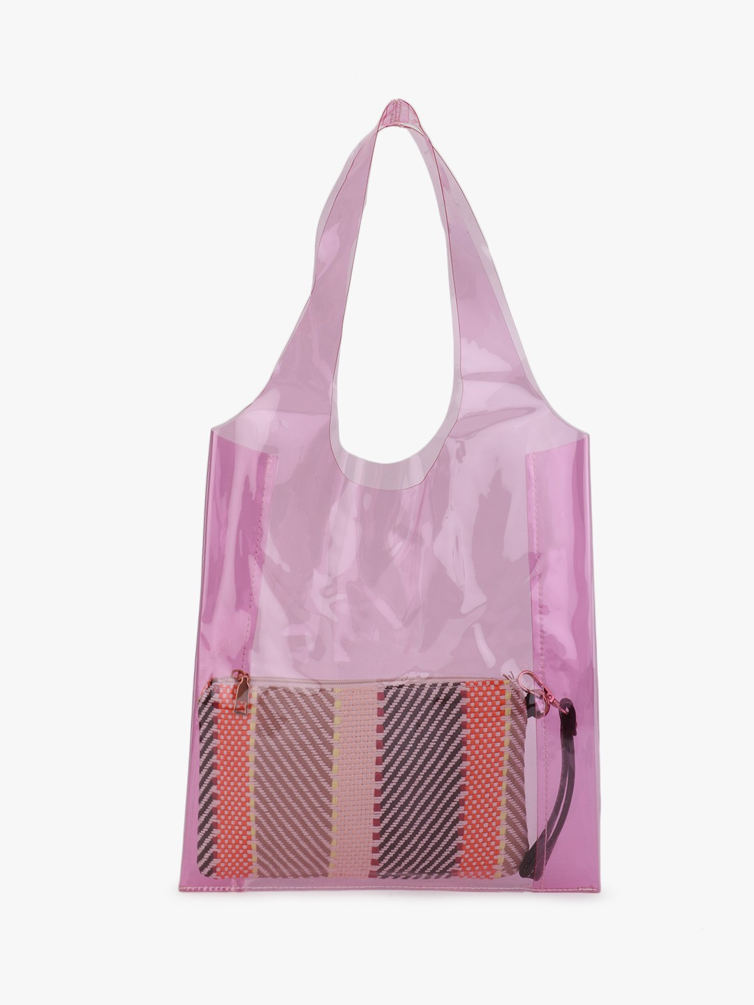 Origami Lily Pink Clear Tote Bag With Pouch 1