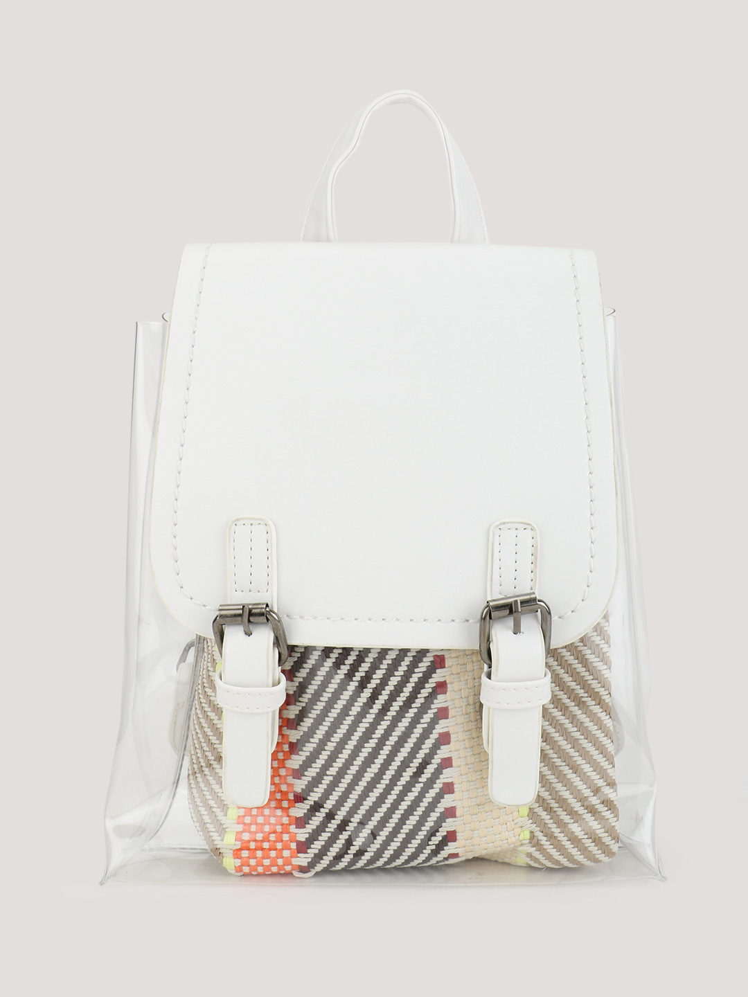 Origami Lily White Clear Backpack With Insert 1