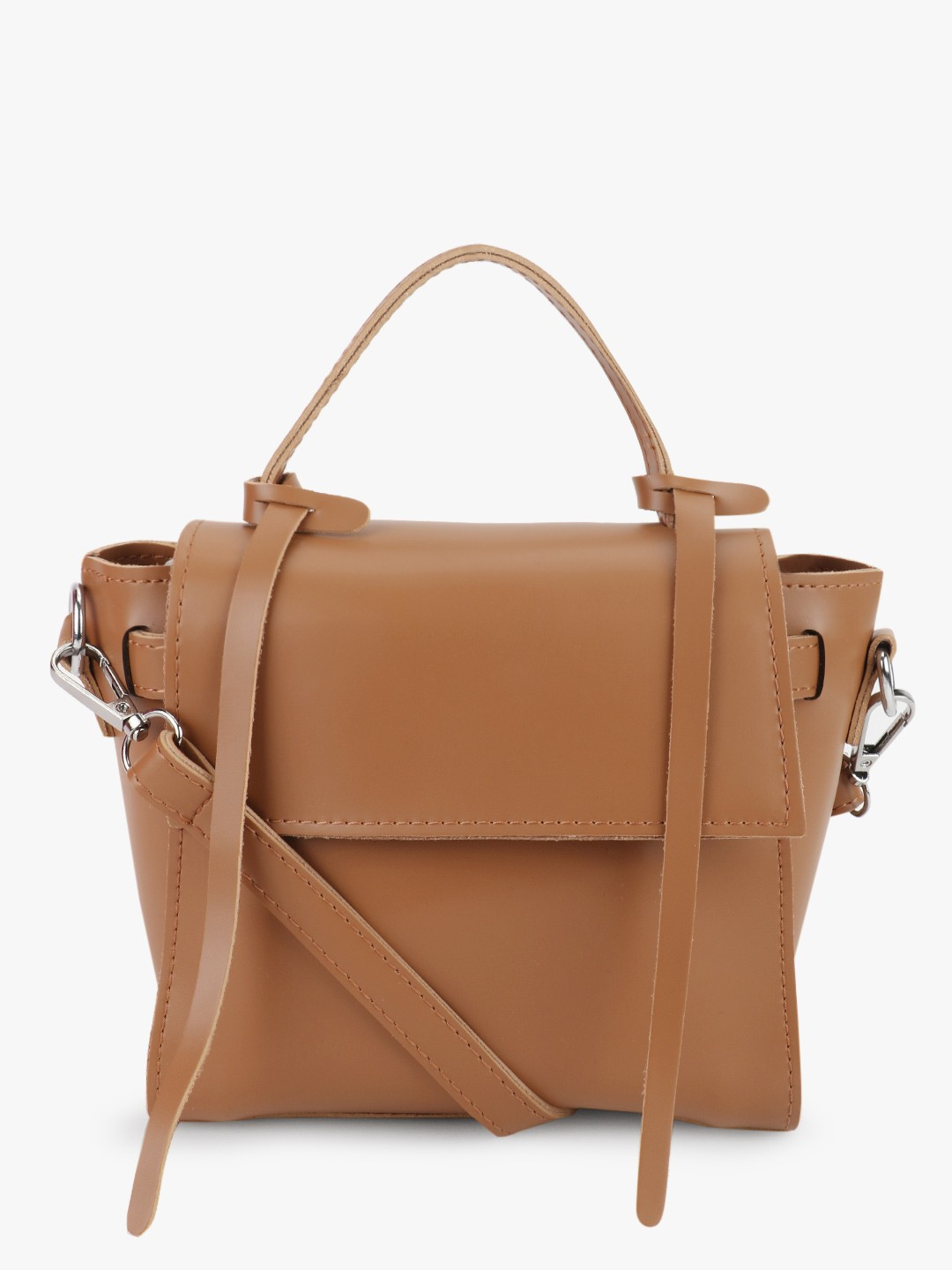 Origami Lily Tan Structured Sling Bag 1