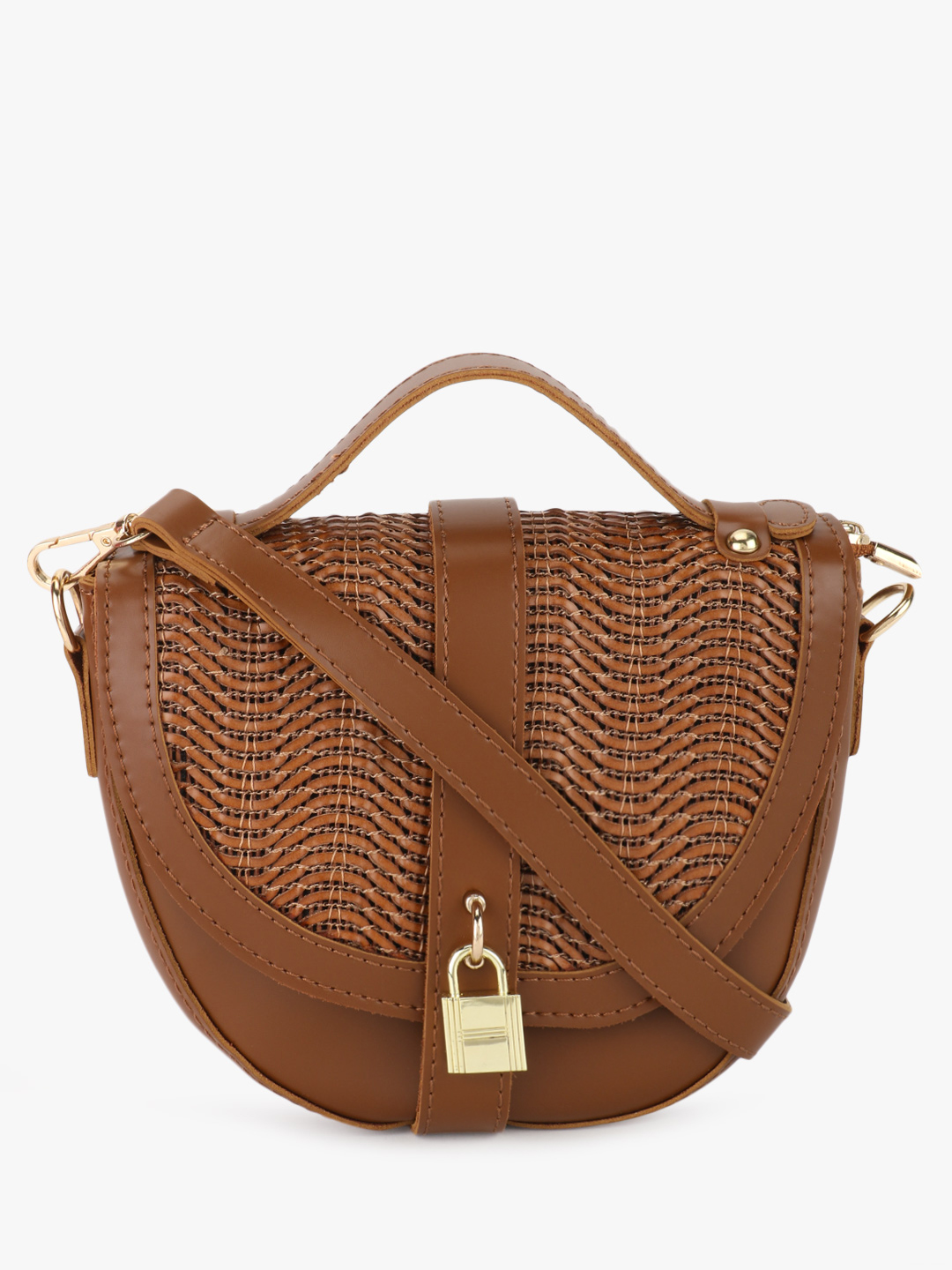 Origami Lily Tan Textured Sling Bag 1