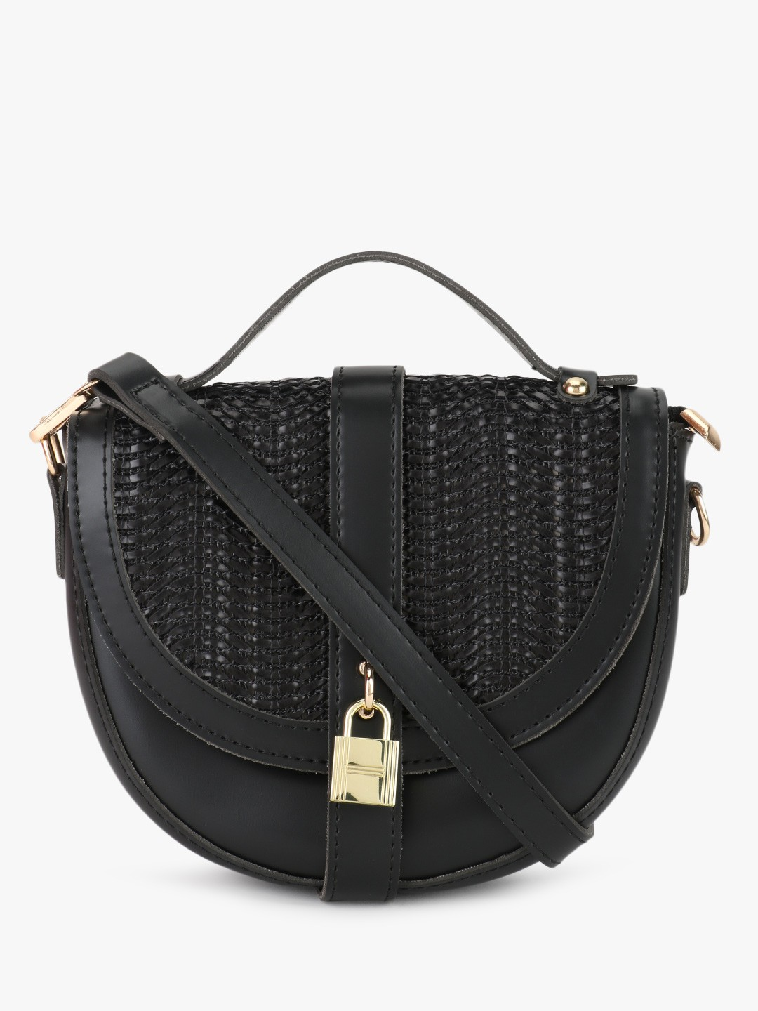 Origami Lily Black Textured Sling Bag 1