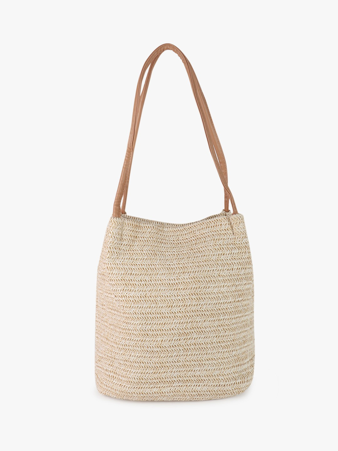 Origami Lily White Natural Wicker Tote Bag 1