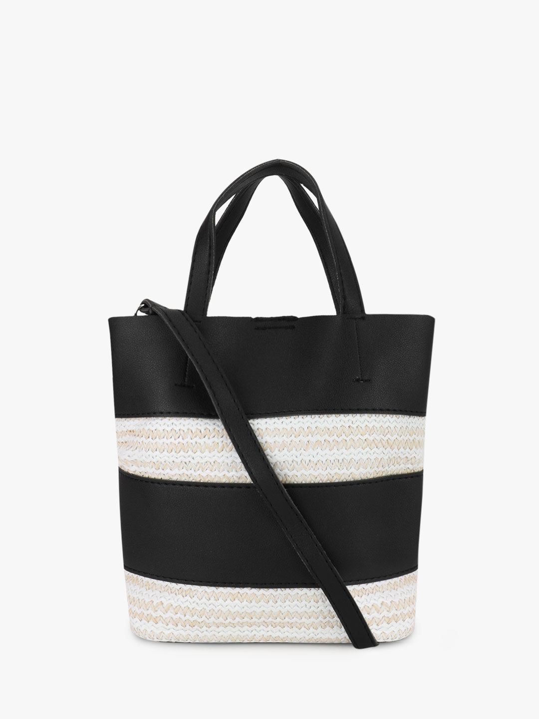 Origami Lily Black Natural Insert Striped Tote Bag 1