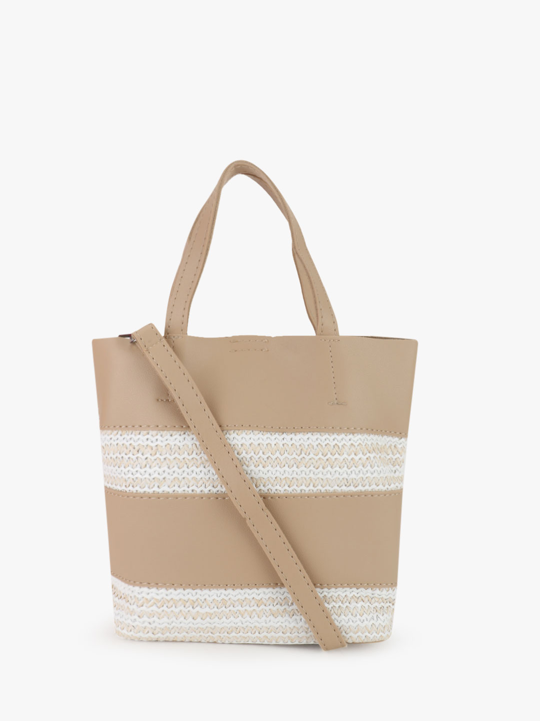 Origami Lily Beige Natural Insert Striped Tote Bag 1