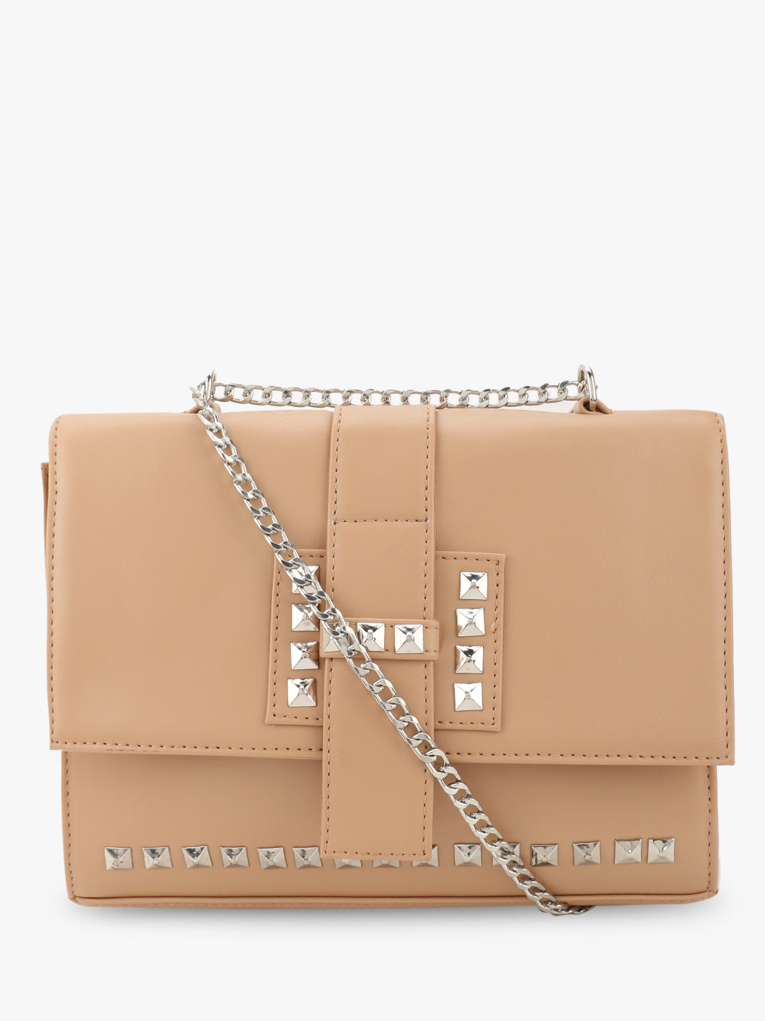 Paris Belle Beige Studded Sling Bag 1