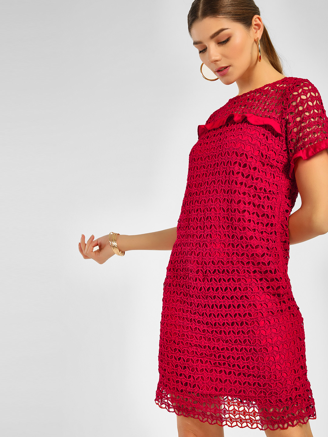 Cover Story Red Crochet Lace Shift Dress 1