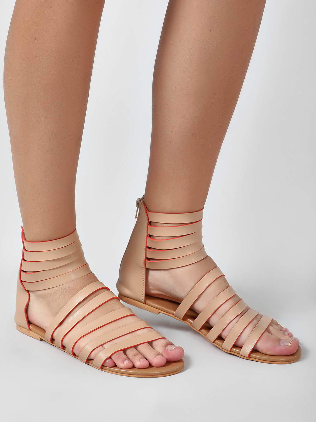 CAi Nude Multi Strap Gladiator Sandals 1