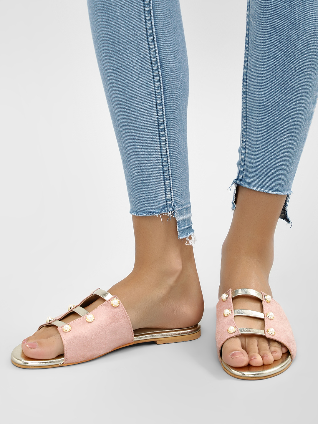 CAi Blush Pink/Gold Caged Slides With Pearl Detail 1