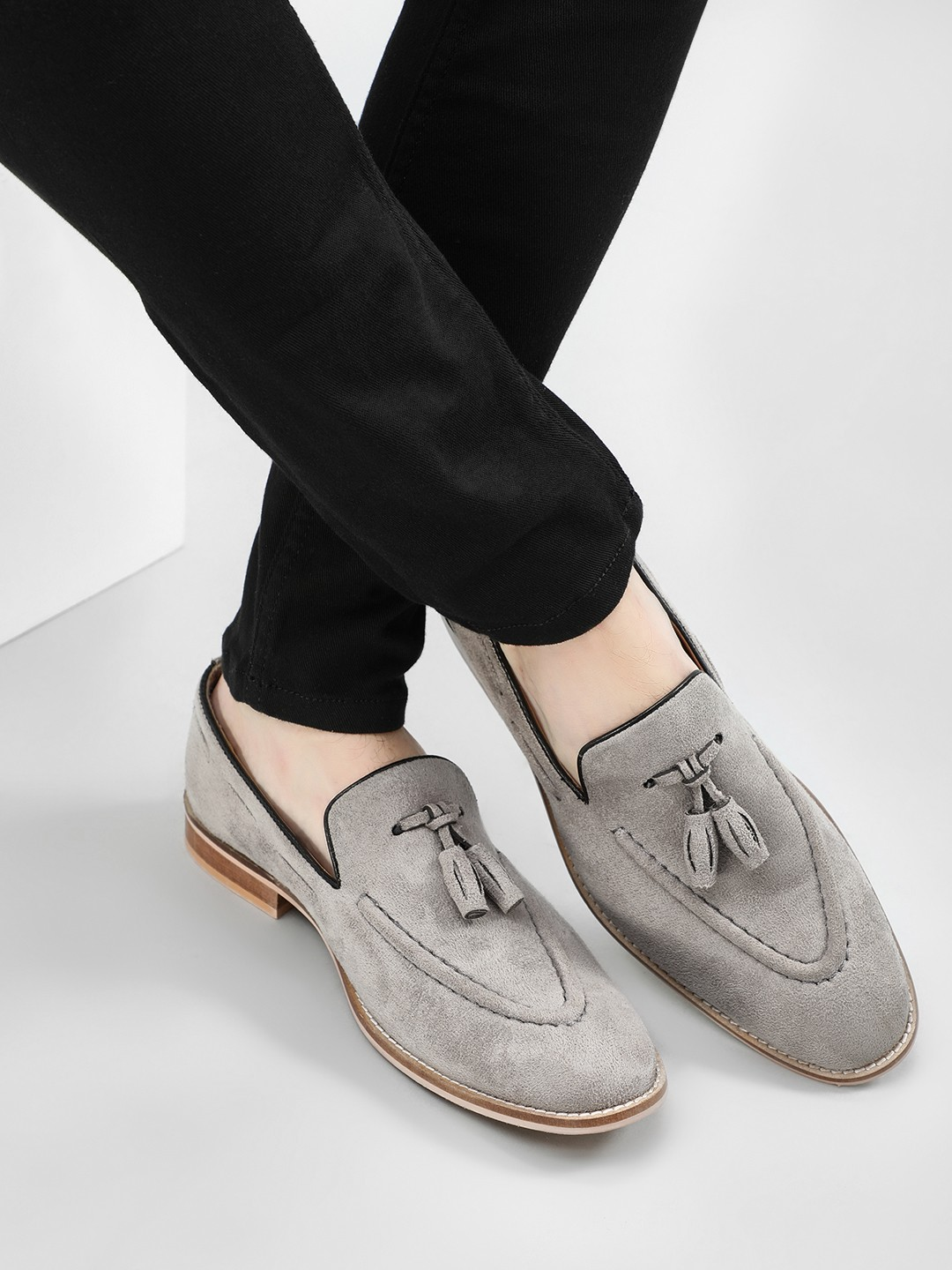Griffin Grey Tassel Trim Suede Loafers 1