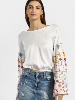 Rena Love Blouse With Embroidered Sleeves