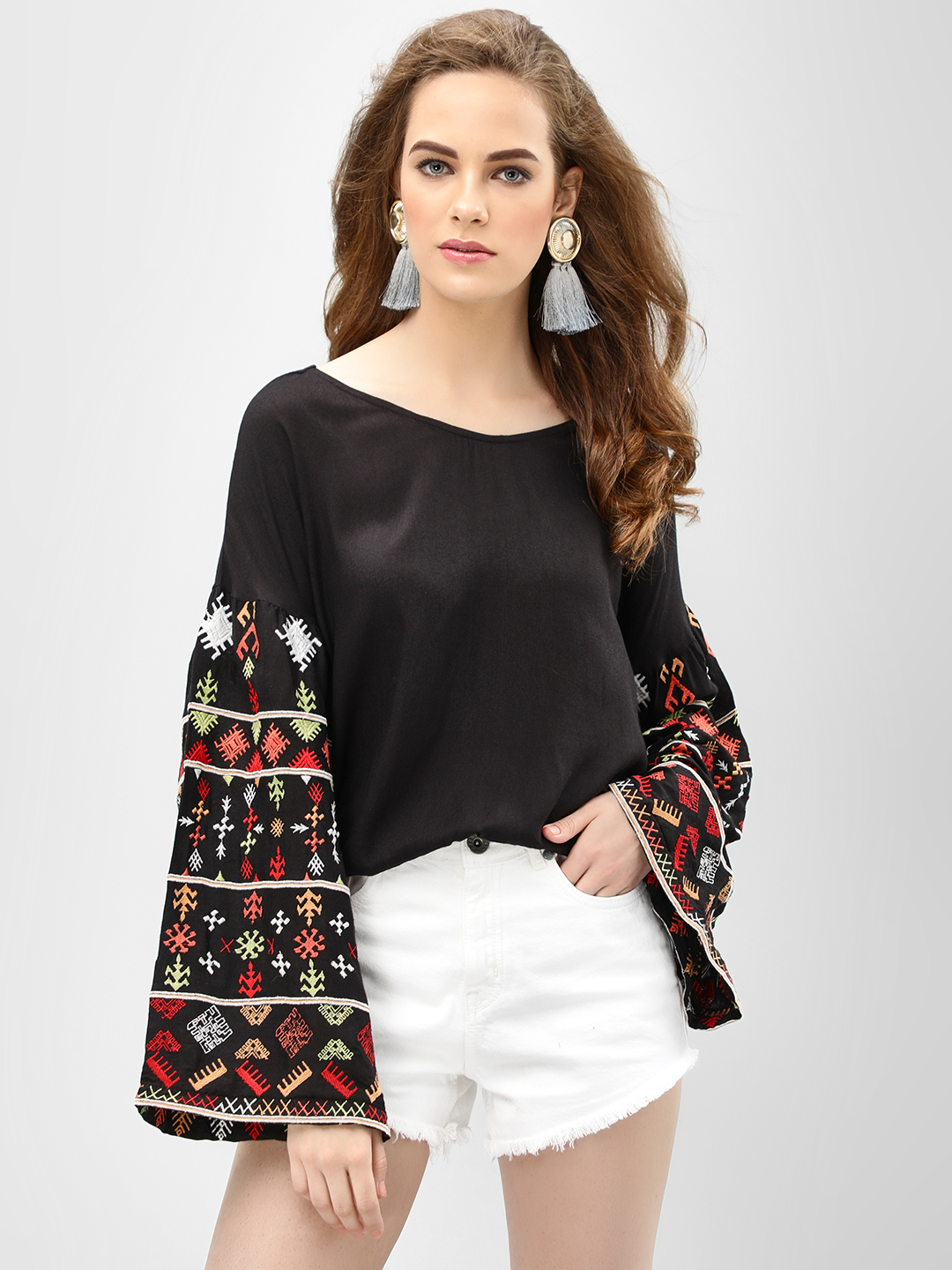 Rena Love Black Blouse With Embroidered Sleeves 1