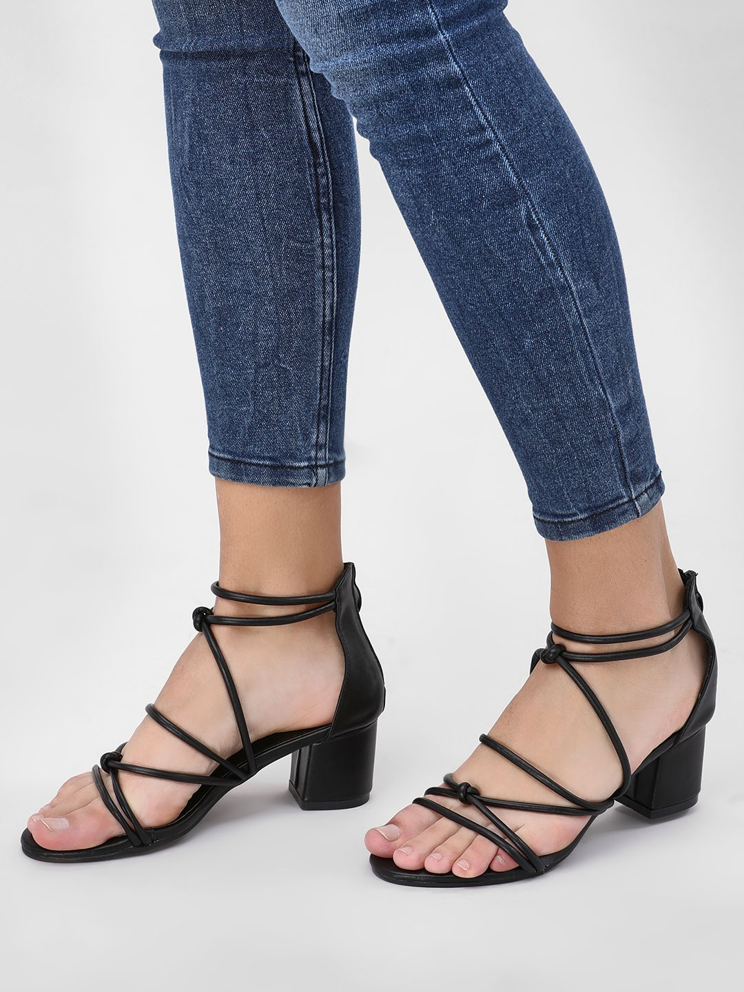 My Foot Couture Black Tubular Strap Heeled Sandals 1