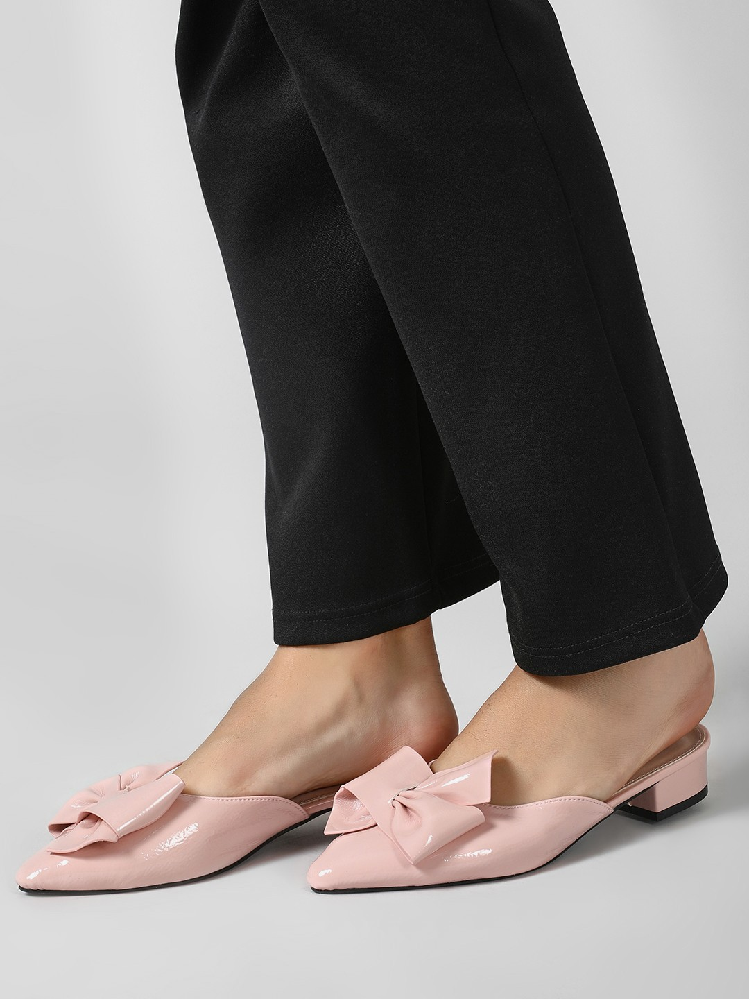 My Foot Couture Blush pink Heeled Mules With Bow Detail 1