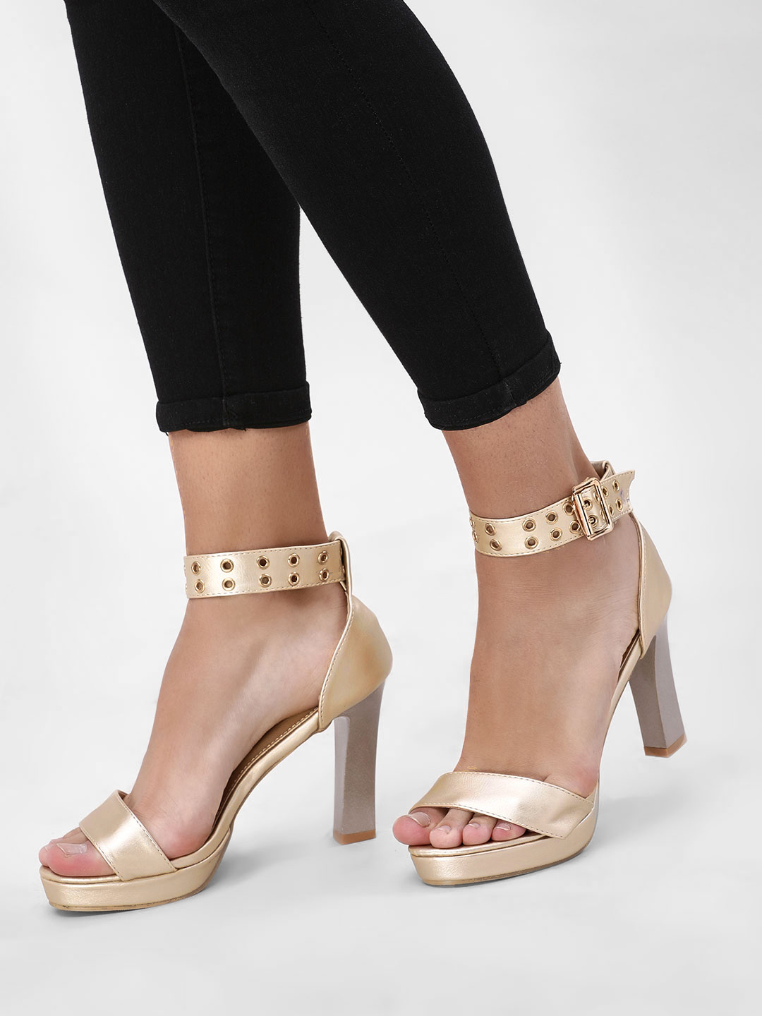 My Foot Couture Gold Eyelet Detail Heeled Sandals 1