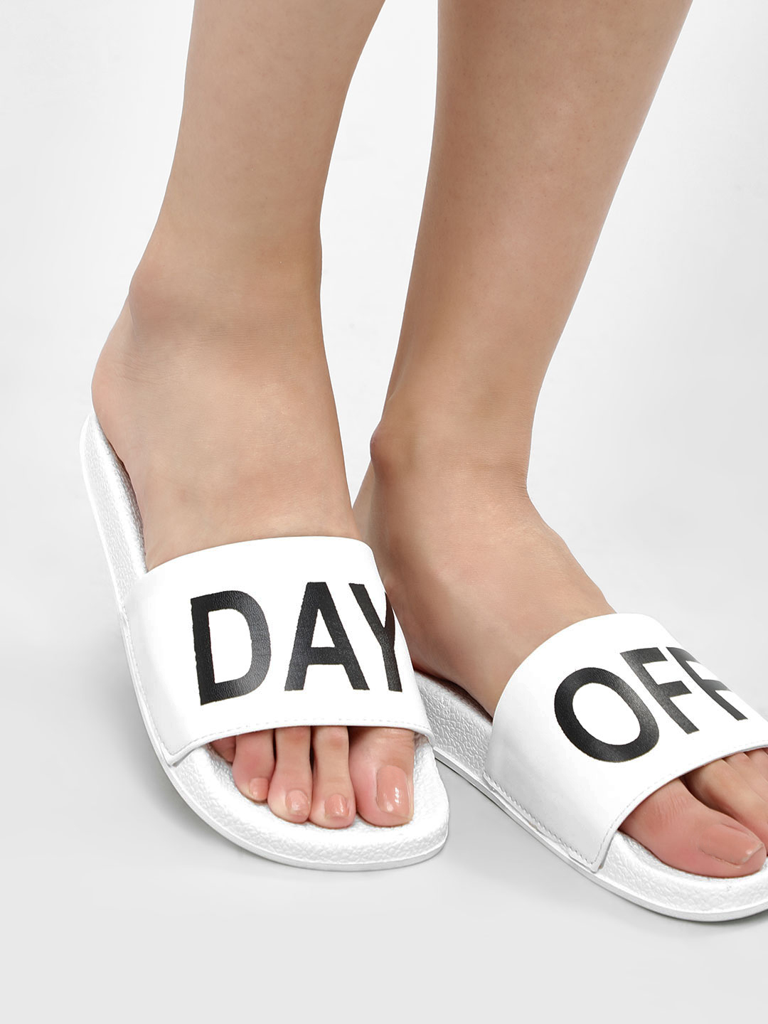 My Foot Couture White 'Day-Off' Slogan Pool Sliders 1