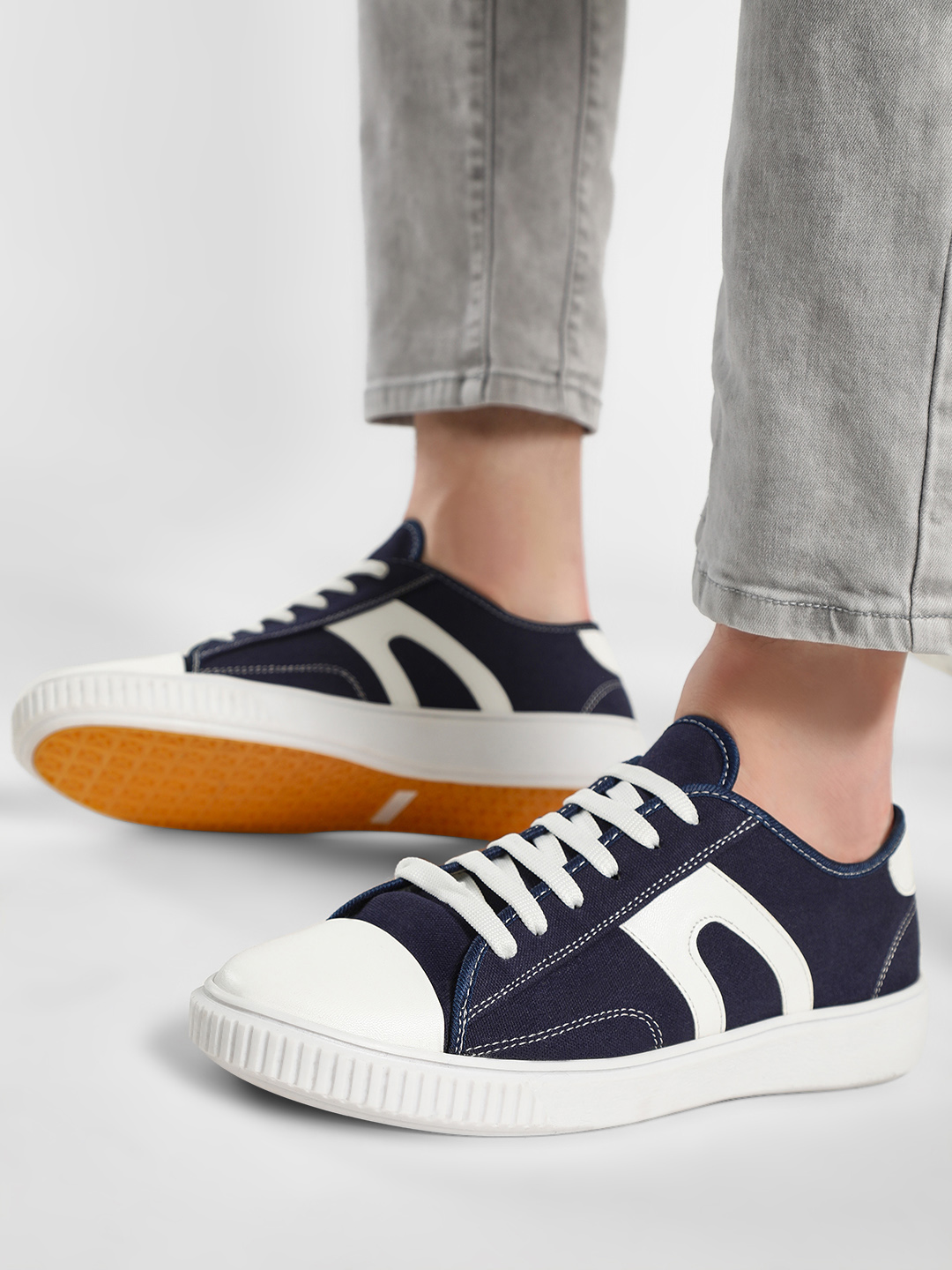 Kindred Blue Canvas Panelled Lace-Up Sneakers 1