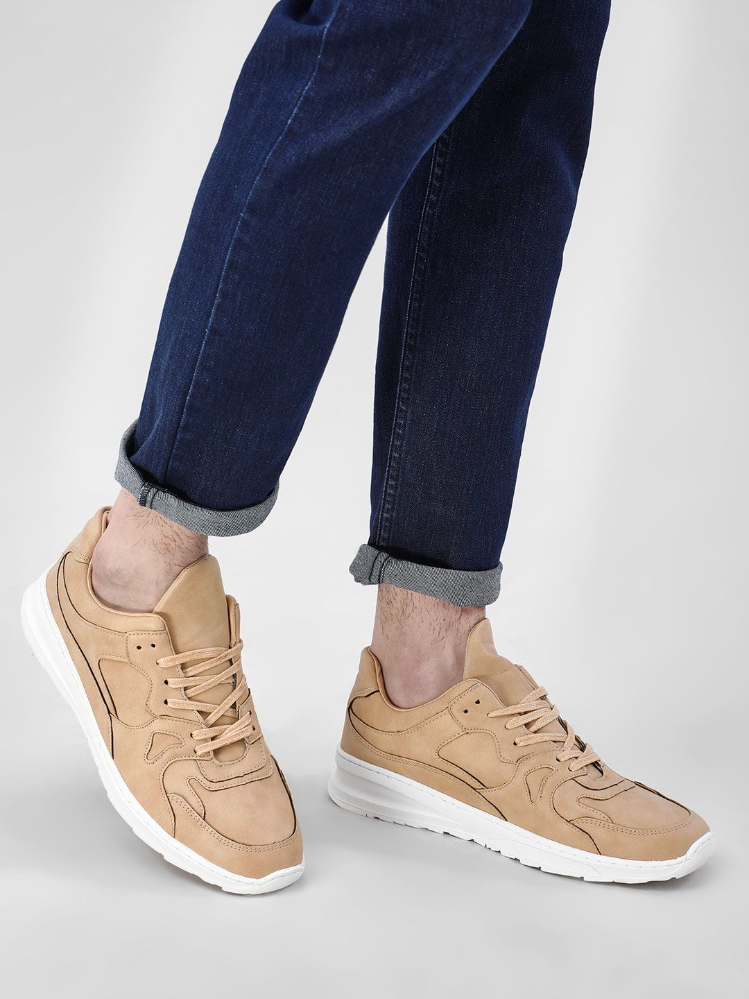 Kindred Beige Panelled Lace-Up Sneakers 1
