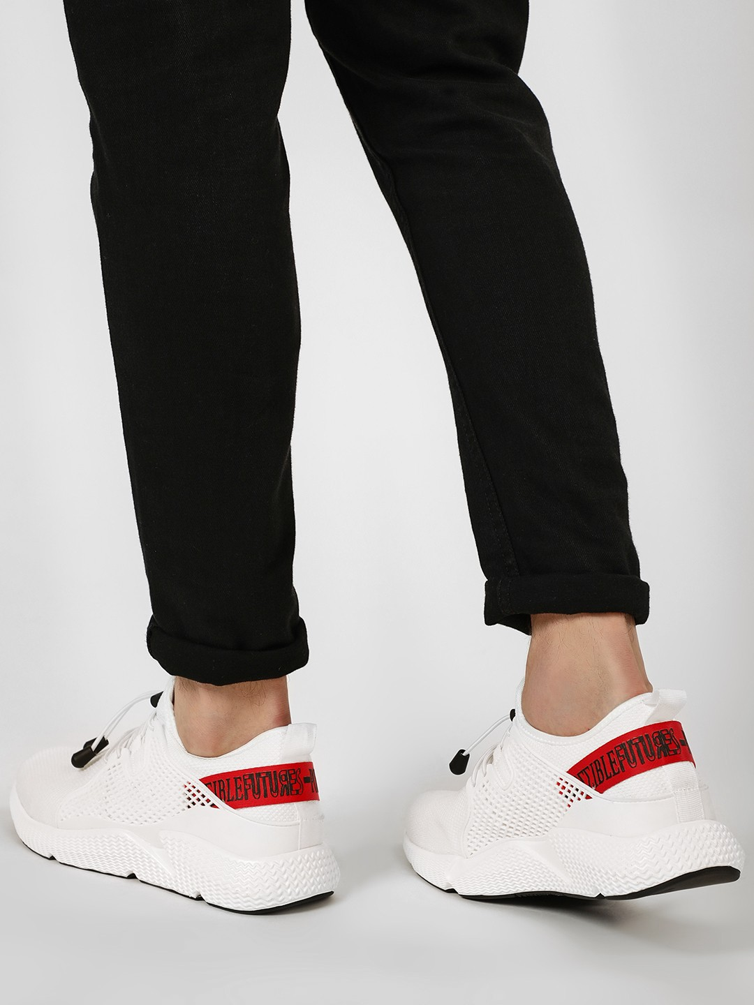 Kindred White Contrast Slogan Tape Lazer Sneakers 1