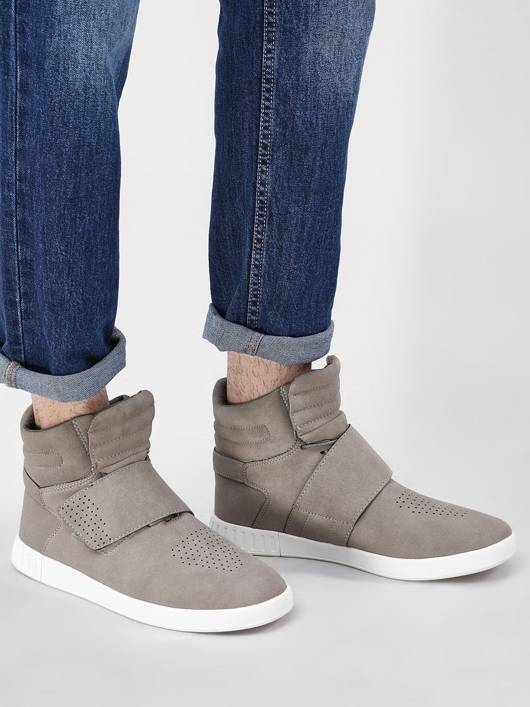 Kindred Grey Suede Hi-Top Cuffed Shoes 1