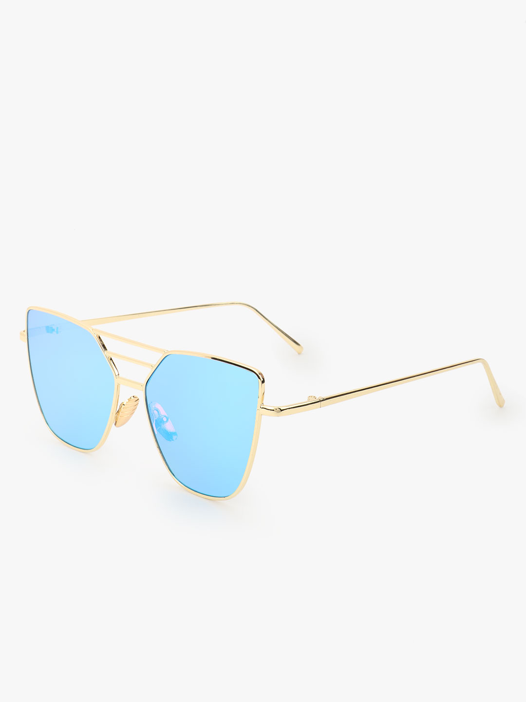 Pataaka Blue Pilot Sunglasses With Bridge Detail 1
