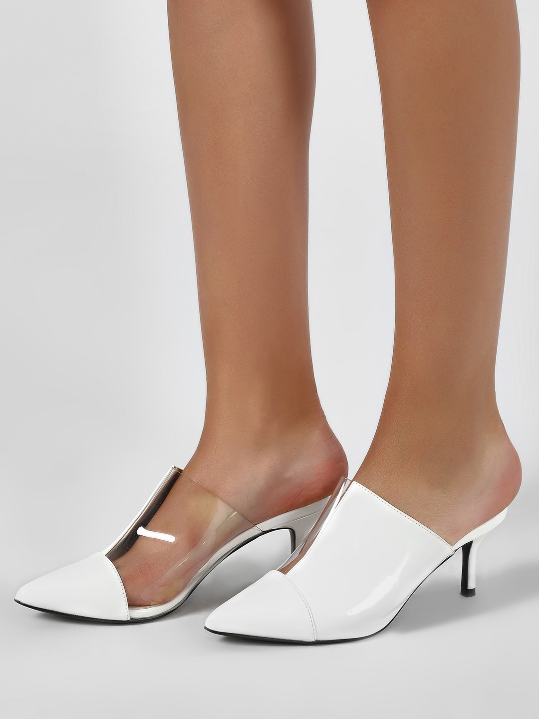 Intoto White Half-n-Half Perspex And Patent Mules 1