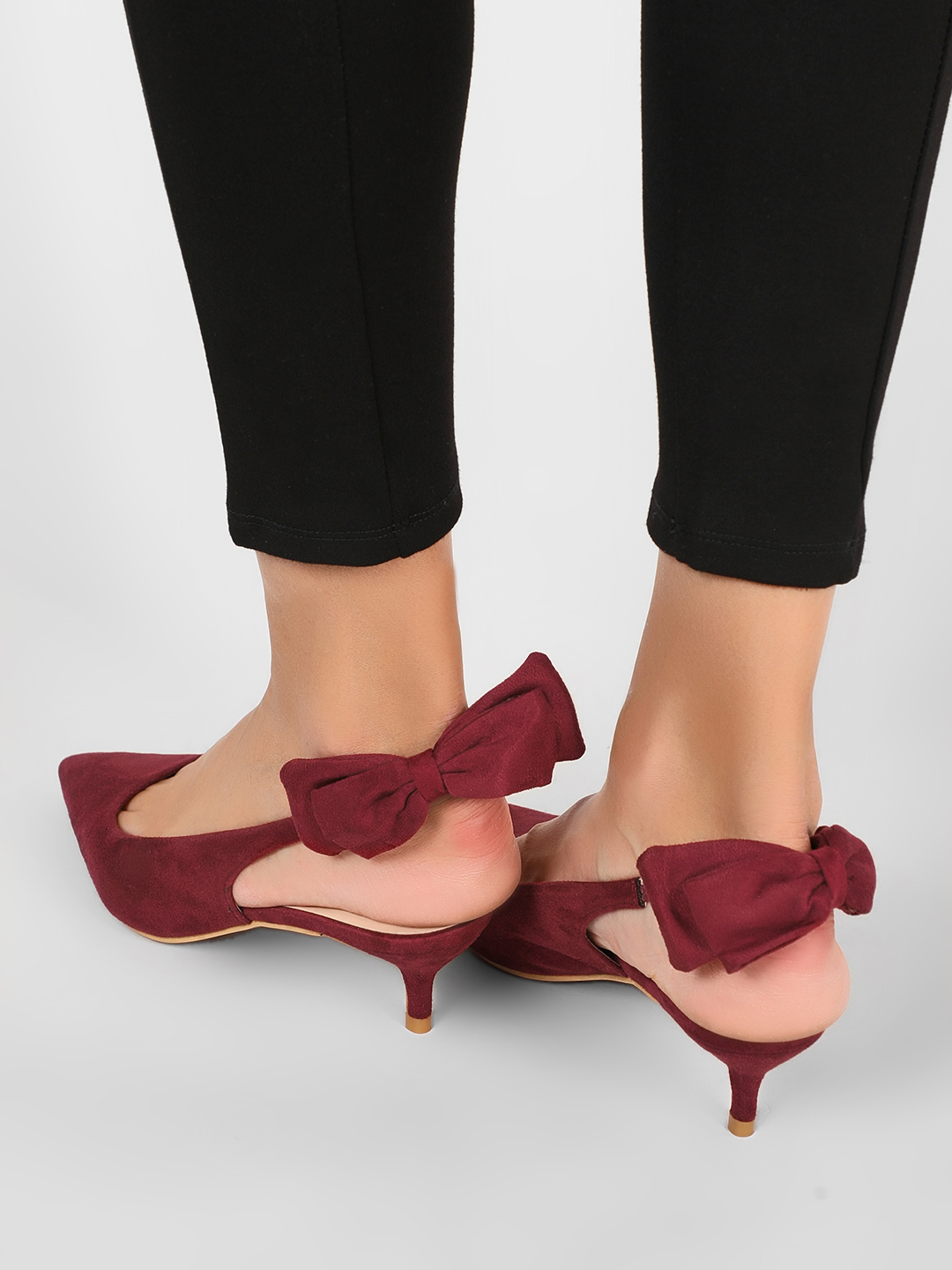 Intoto Burgundy Kitten Heels With Bow Detail 1