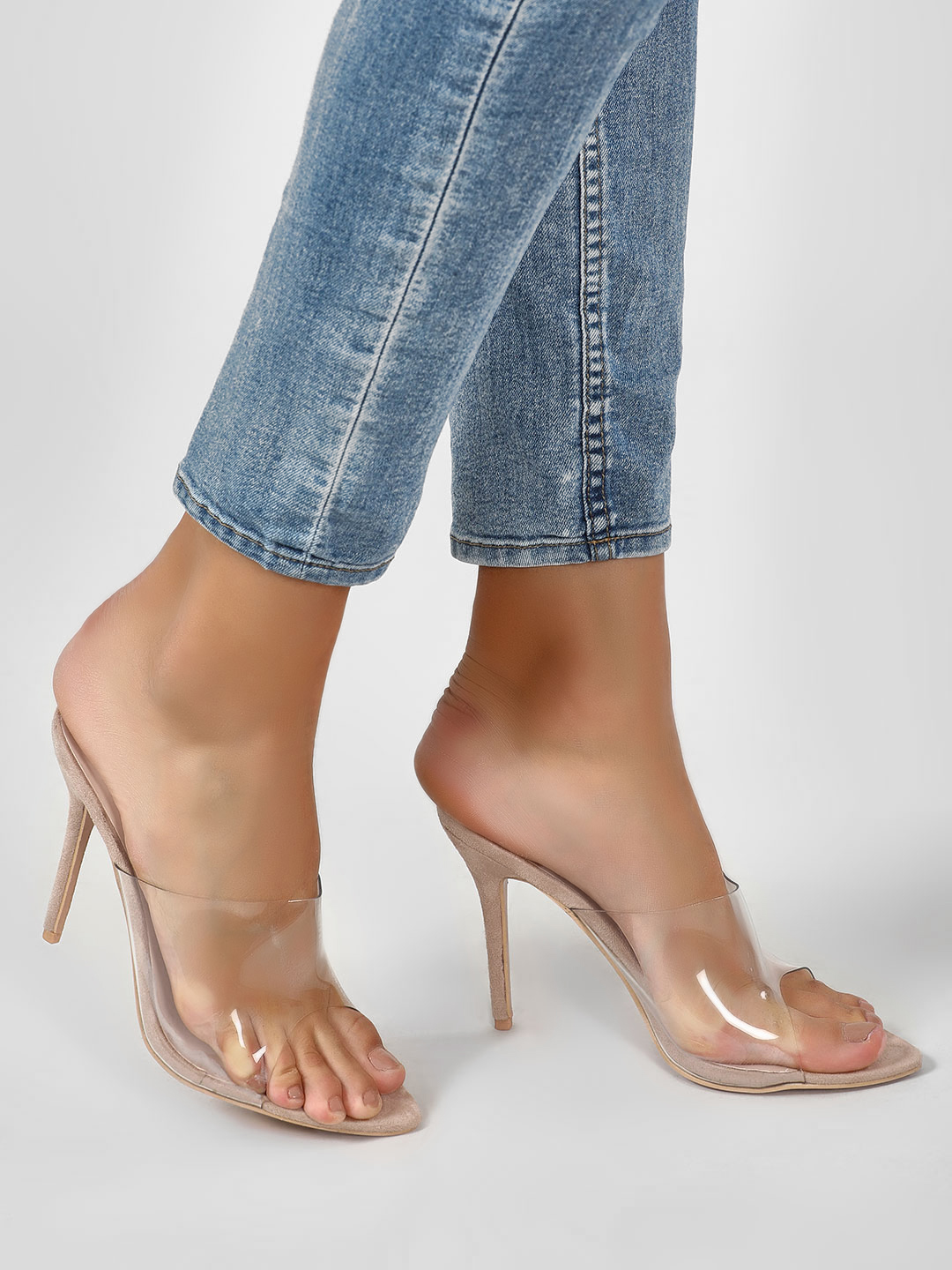 Intoto Nude High Heeled Perspex Mules 1