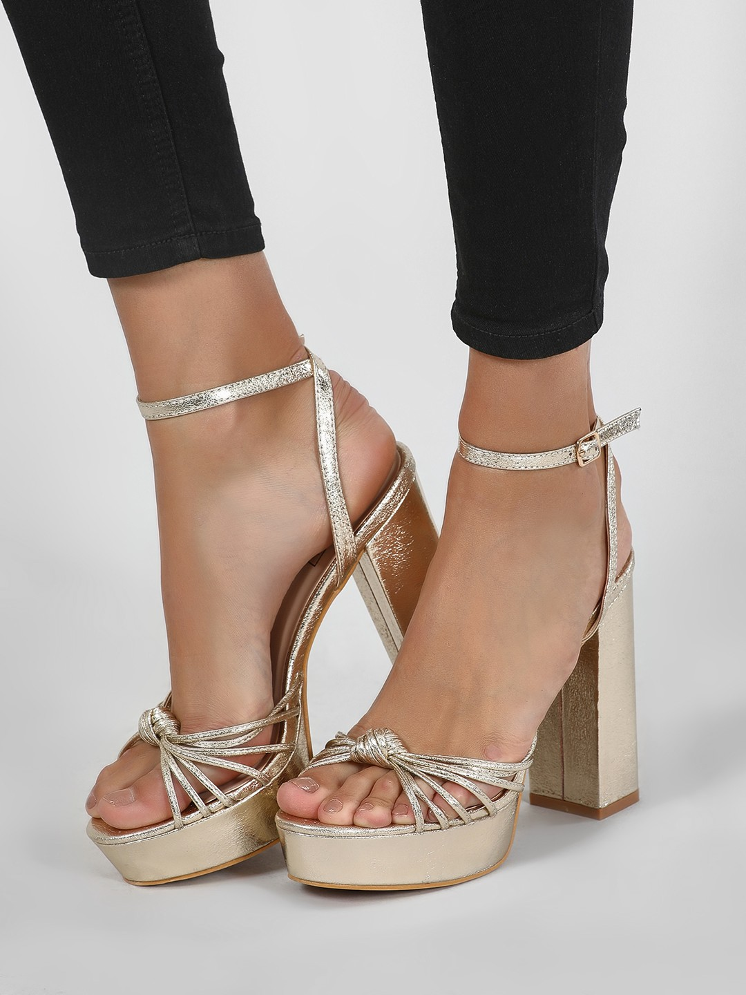 Intoto Gold Platform Sandals With Multiple Knotted Straps 1